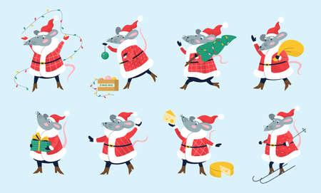 Cute christmas rat set holding festive stuff.