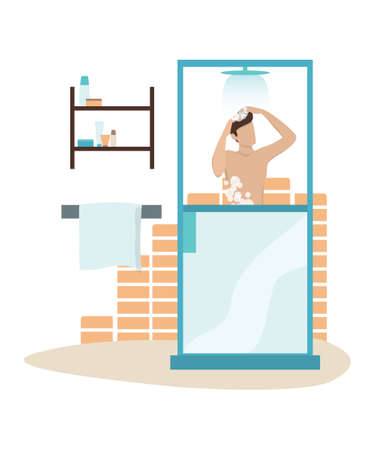 Vector illustration of a man taking a shower in the morning Archivio Fotografico - 133289942