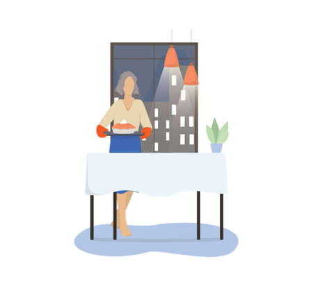 Vector illustration of an old woman holding a pie to a dinner.
