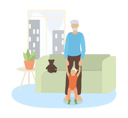 Vector illustration of grandfather with his little granddaughter.