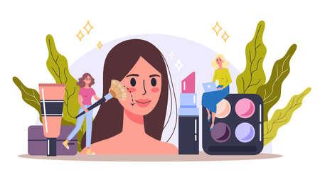 Makeup concept. Woman on beauty procedure, applying
