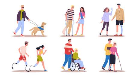 Ensemble de personnes handicapées. Hommes et femmes avec des béquilles