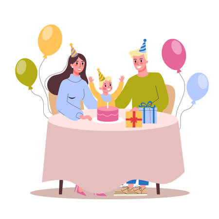 Vector illustration of child birthday party. Happy family celebrate a birthday. Archivio Fotografico - 133289949