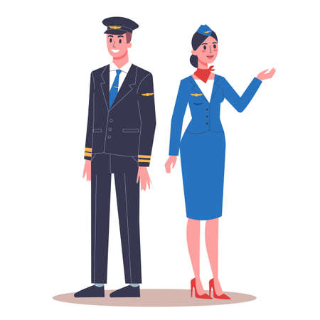 Vector ilustration of pilot and stewardess in their uniform.