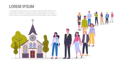 Vektor-Illustration einer großen Schlange von Menschen, die in Richtung einer Kirche stehen Vektorgrafik