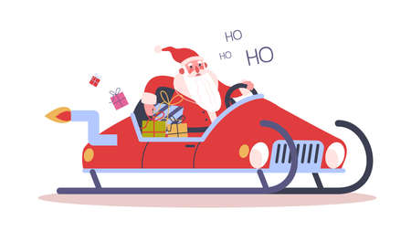 Funny Santa Claus driving an auto sleigh. Christmas character with gift