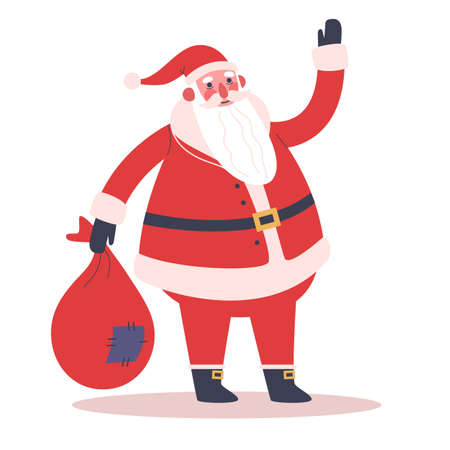 Happy funny Santa Claus in red clothes holding big bag with gifts. Иллюстрация