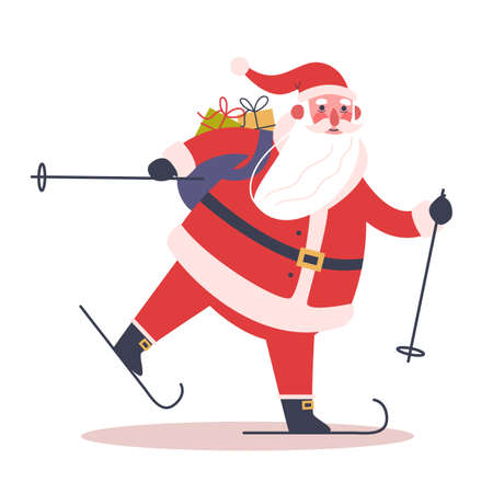 Santa Claus standing with skis on. Cute holiday season cartoon illustration. Иллюстрация