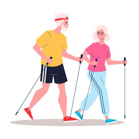 Cople jubilado con un estilo de vida saludable. Caminata nórdica. Ilustración de vector