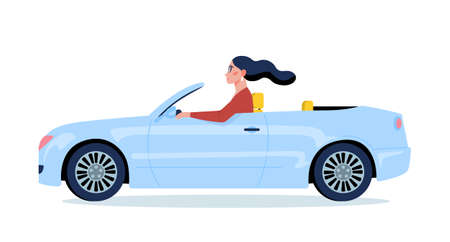 Vector illustration of a woman driving a blue car. Young female character in cabriolet. Happy attractive girl drive an automobile 矢量图像