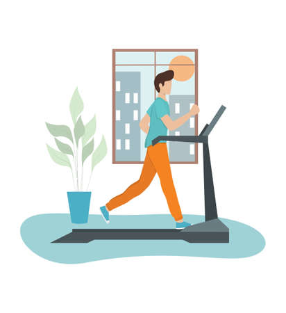 Young athletic man training on a treadmill. Active lifestyle and fitness. Speed runner or jogger on the machine. Vector isometric illustration
