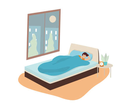 Man sleep. Person rest in the bed on the pillow late at night. Peaceful dream and relax. Vector illustration in cartoon style