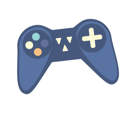 Wireless controller for game console. Game gadget for entertainment, gaming device, video game joypad isolated vector illustration.