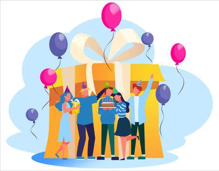 Geburtstagsparty. Fröhliche Menschen feiern rund um eine große Geschenkbox. Kuchen, Musik und Dekoration. Jubiläumsparty. Isolierte flache Abbildung