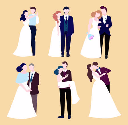 Couple wedding set. Collection of bride with bouquet and groom. Romantic people and white dress for ceremony. Isolated flat illustration