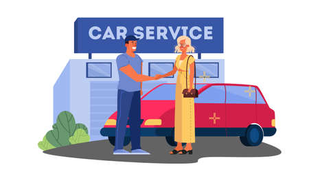 Vector illustrations of happy female driver thank car service worker for car. Woman have her car fixed.
