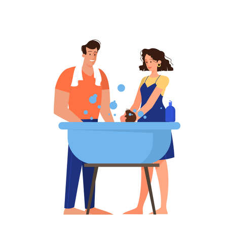 Happy parent washing their baby in the bathtub. Mother and father bathing a child with bubbles. Cute and cheerful family concept  イラスト・ベクター素材