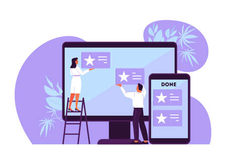 Vector illustration of people plan their schedule, priority task and checking an agenda. Woman and man working on big screen. An idea of Kanban board, time management Illusztráció