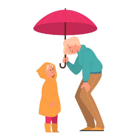 Vector illustration of happy mother and cute daughter standing under umbrella. Happy family walking on rainy day in autumn coat, fall weather. Иллюстрация