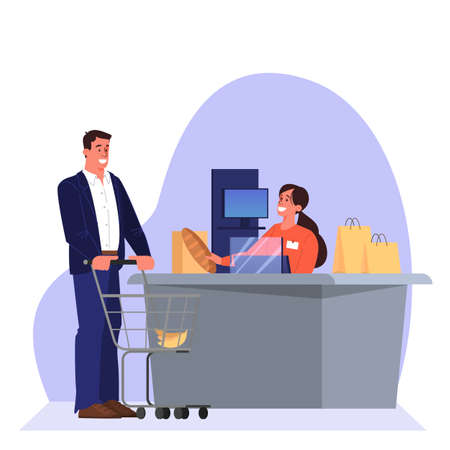 cfood. Smiling saleswoman at the counter. Isolated flat illustration