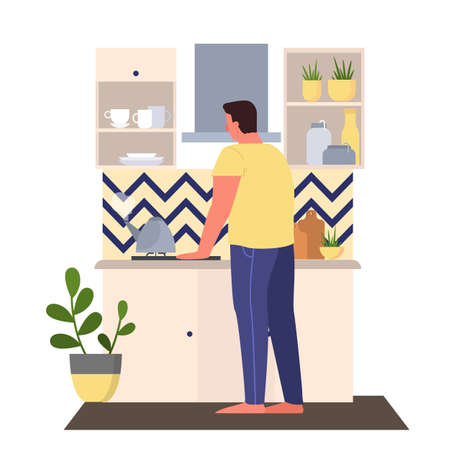 Vector illustration of a man making tea. Male character standing in the kitchen and waiting for kettle to boil. Domestic interior, everyday routine concept.