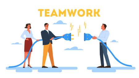 People work together in team. Strategy and business planning. Workers support each other. Teamwork concept. Isolated illustration in cartoon style