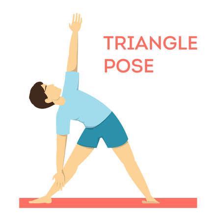 Postura de yoga triangular. Ejercicio físico para entrenamiento corporal y equilibrio. Aptitud masculina. Ilustración de vector aislado en estilo de dibujos animados