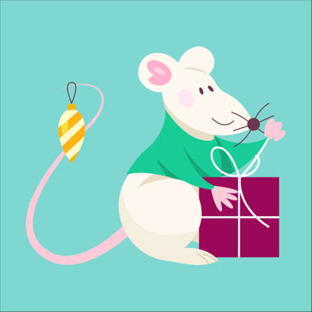 Cute Christmas rat. Animal character holding festive stuff. 2020 year symbol holding a box with present. Isolated vector illustration in flat style