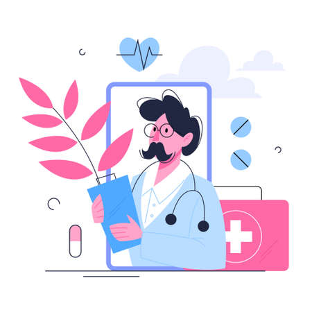 Healthcare concept, idea of doctor caring about patient health. Medical treatment and recovery. Vector illustration in cartoon style