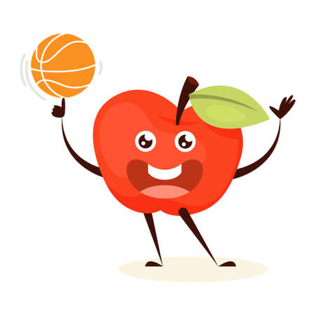 Sport apple training with basketball ball. Vegetable with face, happy character. Funny apple. Isolated flat vector illustration