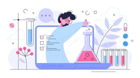 Concetto di ricerca medica. Scienziato che fa test e analisi cliniche. Sviluppo di nuovi farmaci. Illustrazione vettoriale isolato in stile piatto Vettoriali