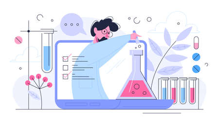 Medical research concept. Scientist making clinical test and analysis. New medicine development. Isolated vector illustration in flat style