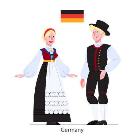 Vector illustration of German citizen in national costume with a flag. Man and woman in traditional clothes. Male and female wearing ethnic dress. Vector flat illustration.