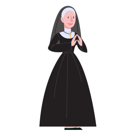 Vector illustration of catholic nun wearing traditional black clothes. Christian church sister pray. Concept of religious profession