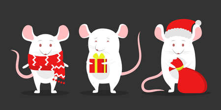 Cute christmas rat set. Animal character holding festive stuff. 2020 year of the rat. Isolated vector illustration in flat style Illustration