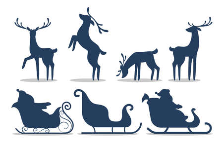 Cute Santa sleigh and reindeer silhouette set. Christmas character with gift riding sleigh. Winter holiday celebration. Christmas card background. Vector illustration Ilustração
