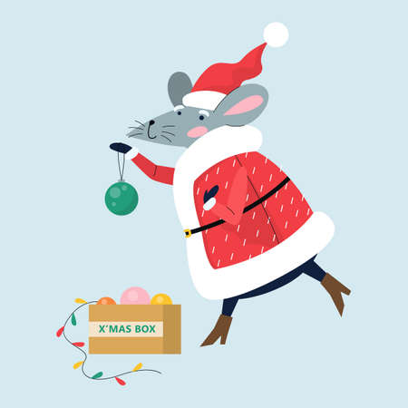 Cute Christmas rat. Animal character holding festive stuff. 2020 year symbol holding Christmas tree decorations. Isolated vector illustration in flat style