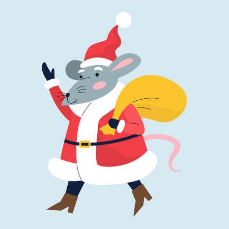 Cute Christmas rat. Animal character holding festive stuff. 2020 year symbol holding a big bag with presents. Isolated vector illustration in flat style