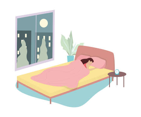 Woman sleep. Person rest in the bed on the pillow late at night. Peaceful dream and relax. Vector illustration in cartoon style