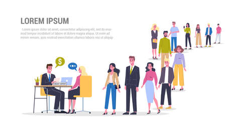 Vector illustration of big queue of people standing towards a credit expert. Credit concept web banner. Idea of banking system and payment. People in the long crowd waiting for their turn. Ilustrace