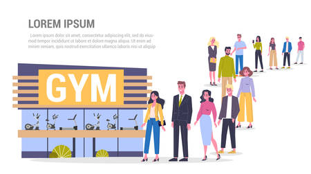 Vector illustration of big queue of people standing towards a gym center. Sport, fitness and healthy lifestyle. Adults standing in the long crowd waiting for their turn.