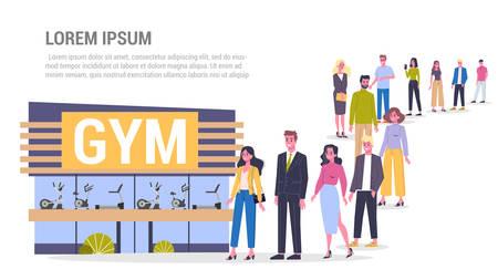 Ilustración de vector de gran cola de personas de pie hacia un centro de gimnasio. Deporte, fitness y estilo de vida saludable. Adultos de pie entre la multitud esperando su turno. Ilustración de vector