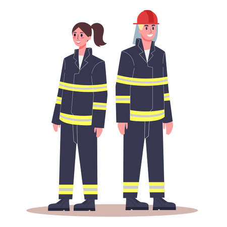 Female and male firefighter. Fireman and firewoman in uniform with equipment: extinguisher, helmet and other. Modern profession for woman and man. Flat vector illustration Vectores