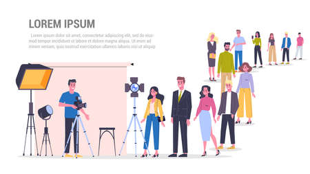 Vector illustration of big queue of people standing towards a photo studio to make a photoshoot. Various equipment such as softbox and camera. Adults standing in the long crowd waiting for their turn.