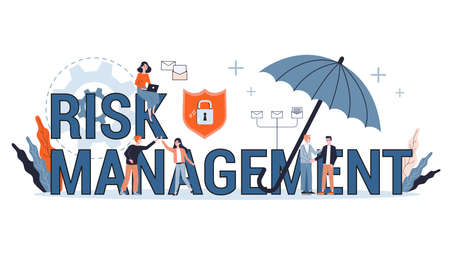 Risk management concept. Idea of business strategy and financial protection. Money safety. Isolated flat illustration, web banner