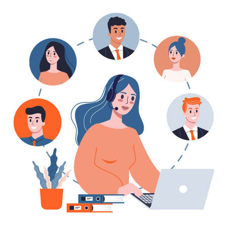 Technical support concept. Idea of customer service. Support clients and help them with problems. Providing customer with valuable information. Vector illustration in flat style