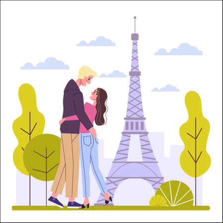Travel concept. Idea of tourism around the world. Happy couple having vacation and holiday abroad. Adventure in Europe. Weekend journey. Vector illustration in cartoon style