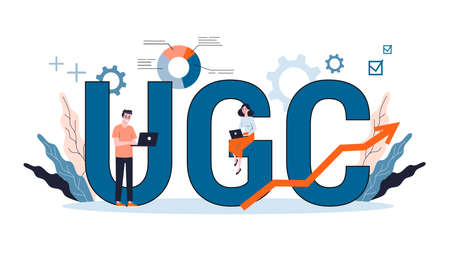 Vector illustation for UGC concept. User generated content campaign, content marketing, media communication, social network.