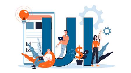 UI design. App interface improvement for user. Modern technology concept. Flat illustration