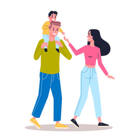 Happy young dad and mom with child boy. Family together. Cute couple walking together. Isolated flat vector illustration